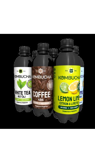 LONG LIFE BIO Kombucha MIX1 6ks/0.5l - Káva, Bílý čaj, Citron, Heřmánek, Broskev, Citron a Limetká