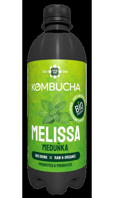 LONG LIFE BIO Kombucha  Mix 0.5l - Broskev, Malina, Lime a Zázvor, Bílý čaj, Meduňka, Zelený čaj, Heřmánek