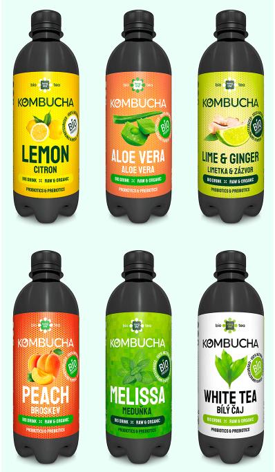 LONG LIFE BIO Kombucha  Mix 0.5l - Broskev, Citron, Lime a Zázvor, Bílý čaj, Meduňka, Aloe Vera