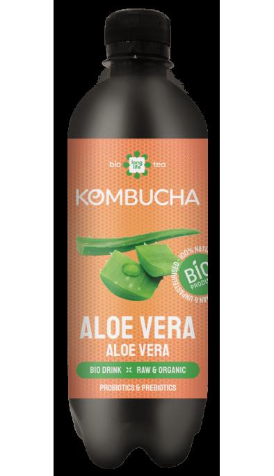 LONG LIFE BIO Kombucha  Mix 0.5l - Broskev, Citron, Lime a Zázvor, Bílý čaj, Meduňka, Aloe Vera.