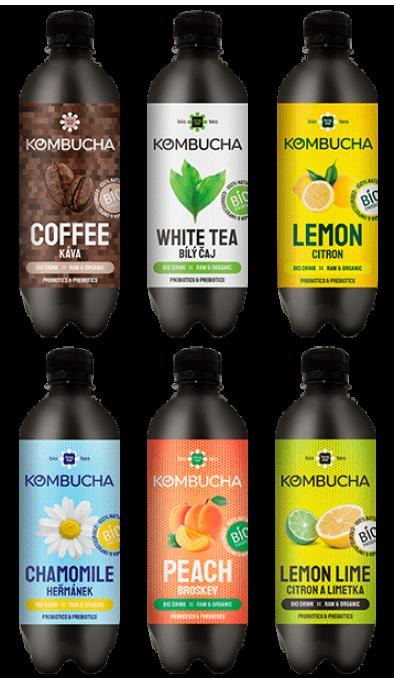 LONG LIFE BIO Kombucha MIX1 0.5l - Káva, Bílý čaj, Citron, Heřmánek, Broskev, Citron a Limetká